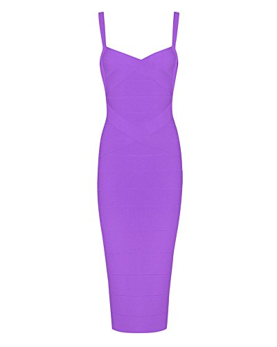 [Whoinshop Women's Rayon Strap Celebrity Midi Evening Party Bandage Dress (L, purple)] (Rayon Womens Party Dress)