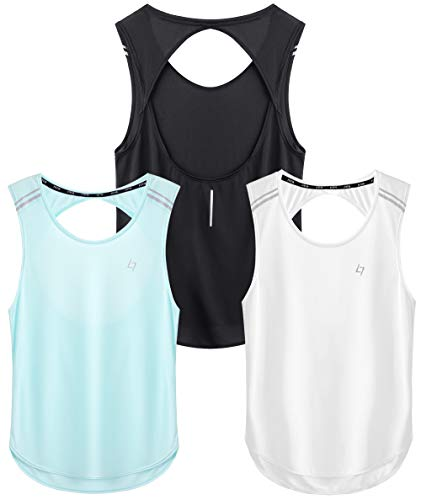 FITTIN Women's Yoga Tank Tops Pack of 3- Activewear for Sports Workout Clothes Open Back Fitness Racerback Tank Tops Small
