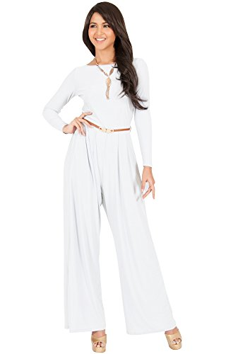 KOH KOH Womens Long Sleeve Sleeves Wide Leg with Belt Formal Elegant Cocktail Party Fall Pant Suit Pants Suits Jumpsuit Jumpsuits Romper Rompers, Ivory White M 8-10 by KOH KOH