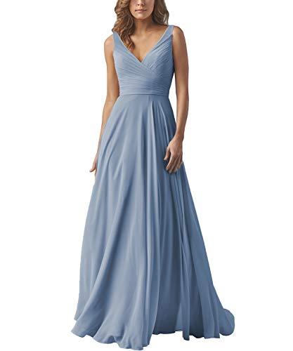 Women's V-Neck A-line Long Bridesmaid Dress Chiffon Elegant Prom Evening Dress Dustyblue - Evening Prom Bridesmaid Dress