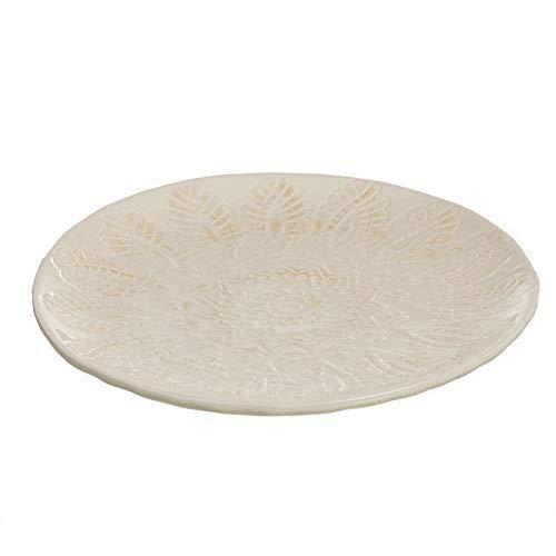 Hogar Deco Centro de Mesa Comedor y Salon Decorativo Redondo Ceramica Blanco 25 cm