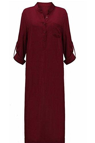 Con cuello en v vestido Maxi vestido Casual de las mujeres Winered