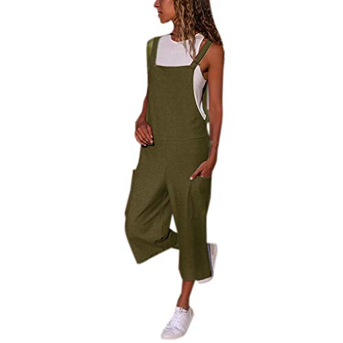 vermers Camisole Jumpsuits for Women - Womens Summer Casual Sleeveless Dungarees Loose Long Playsuit Party Jumpsuit(L, x#1- Army Green)