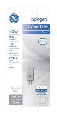 - Ge Quartz Halogen Light Bulb 50 W 950 Lumens T3 Gy6.35 1-3/4 In. Clear Carded