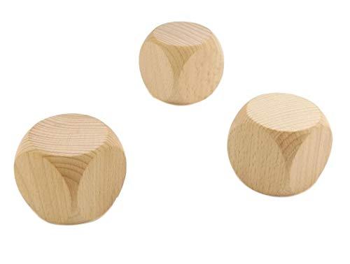 でかいサイコロ 3個セット 5cm x 5cm x 5cm 無地 大きめ 木製 サイコロ ダイス ゲーム 遊び 麻雀 好きな文字や絵が描ける