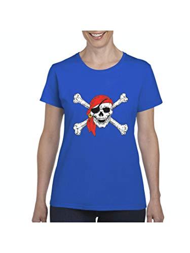 Pirate Birthday Party Halloween Costume Idea Jolly Roger Skull Crossbones Women's Short Sleeve T-Shirt (3XLRB) Royal Blue ()