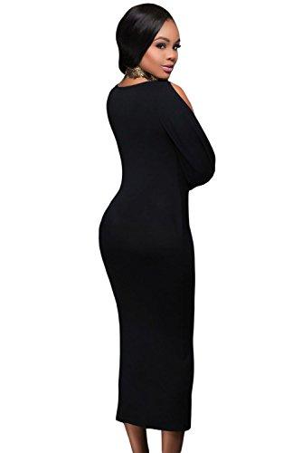 New Ladies Long Open funda negro Wrap vestido Midi vestido Club Wear Evening fiesta verano vestidos tamaño S UK 8–�?0EU 36–�?8