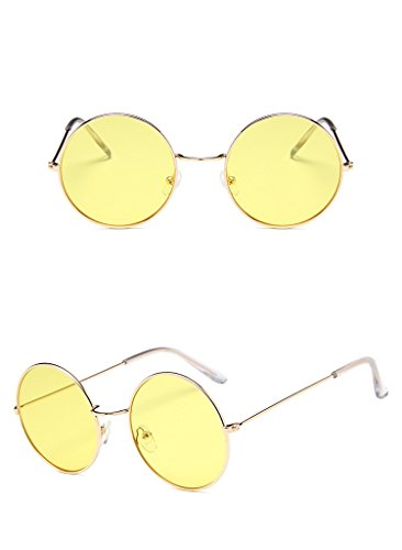 Nuni Unisex Gold Wire Frame Tinted Lens Retro Round Sunglasses (gold, - Yellow Round Glasses