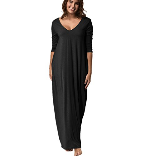 ZOMUSA Hot Sales Plus Size Hippie Boho Women 3/4 Sleeve Low V Neck Maxi Long Dress With Pocket (S, - Hippie Hot Girl