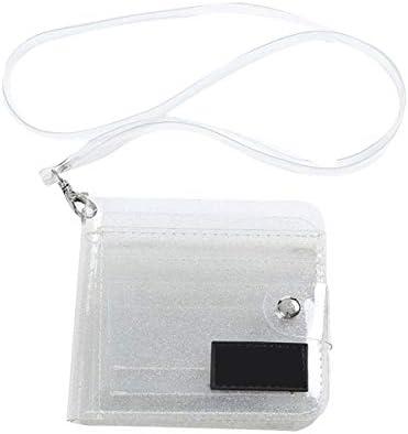 Gugutogo Blingbling Bolso de Estilo Coreano Bolso Plegable de PVC Transparente Bolso de Cuello Colgante Cartera peque/ña Short Girl Chase Mini Monedero