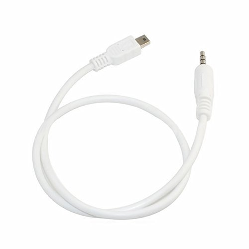 SuperWhole 3.5mm Stereo Plug to Mini USB Male M/M Adapter Converter Audio Cable White 50cm