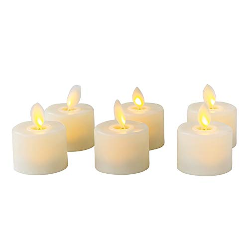 LED Tea Light Candles, Flickering Flameless Candles Realistic Dancing LED Flames Electric Candles Battery Operated LED Votive Candles, Pack of 6 (Warm White) by LKMU