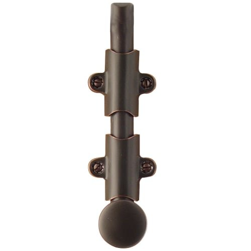 Emtek 8511 6'' Solid Brass Surface Bolt with Strikes and Screws, Oil Rubbed Bronze