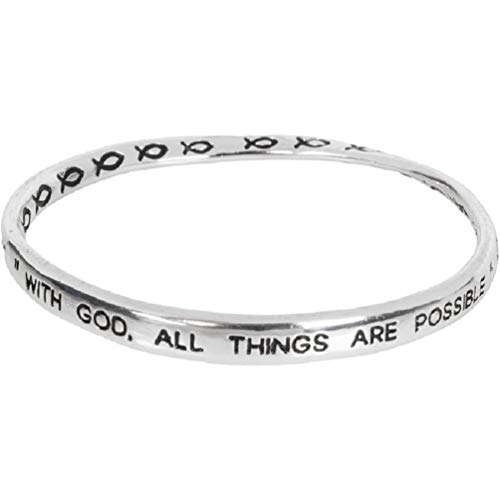Matthew 19:26 - with God, All Things are Possible - Bible Scripture Verse Mobius Bangle Bracelet