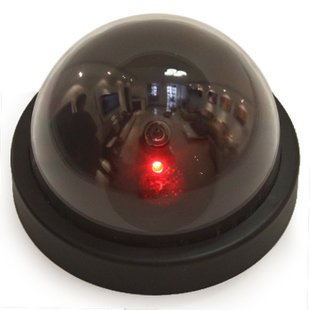 Dummy Fake Surveillance Security CCTV Dome Camera Indoor Outdoor with Realistic Simulated LEDs + Warning Security Alert Sticker, Silver