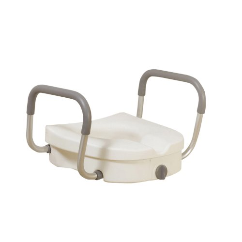 Drive Medical Raised Toilet Seat with Removable Padded Arms,