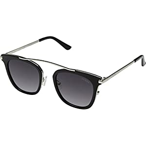 GUESS Womens GF6063 Shiny Black With Silver/Smoke Gradient Lens One Size