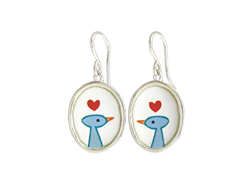 Love Bird Earrings Handmade 925 and Enamel for Women and Birdwatchers