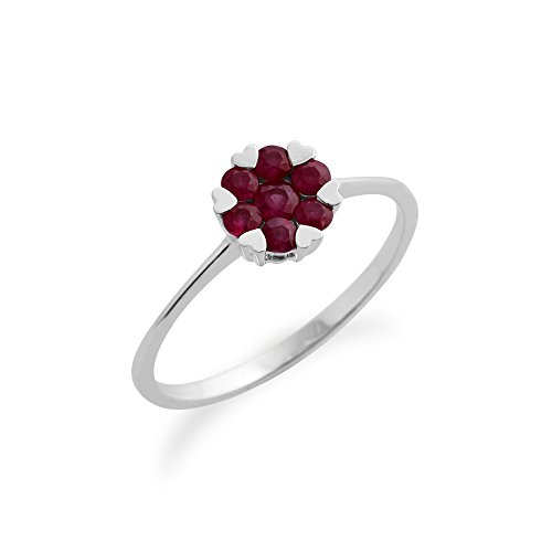 Gemondo Bague Rubis, 9ct Or Blanc 0,39 Ct Rubis Floral Bague Grappe