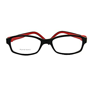EnzoDate No Screw Teens Glasses Size 50/17 TR90 Silicone Flexible Kids Frame (black/red)