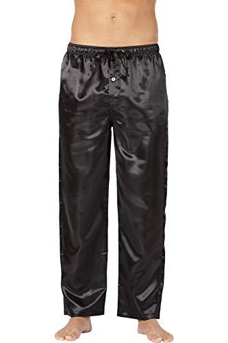 (Intimo Men's Classic Satin Pajama Sleep Pants, Black, Small)