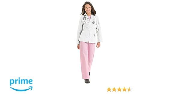 Amazon.com: Urbane Scrubs Womens Zip-Up Lab Coat - White, Large: Clothing