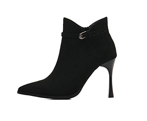 hechizo Botas de Color XZ Botas Negras mujer cortas invierno alto Martin en Botas tacón e de punta de Otoño xwqORqpgX