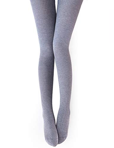 Vero Monte 1 Pair Womens Wool Blend Ribbed Tights Opaque Knit Tights(Light Grey) -