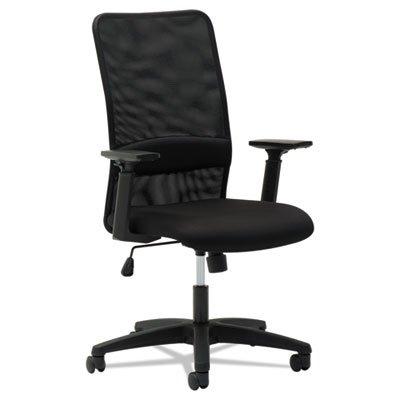 Mesh High-Back Chair, Height Adjustable T-Bar Arms, Black, Sold as 1 (Height Adjustable T-bar Arms)