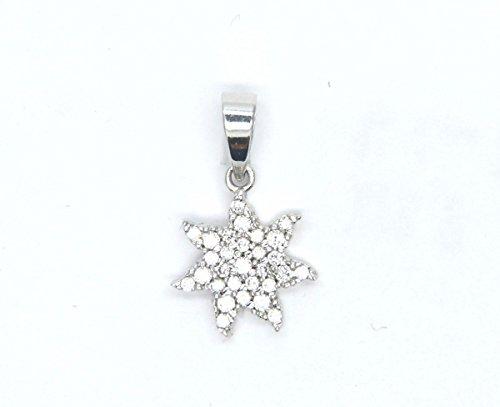 Pendentif Or blanc 18carats Pendentif Petit Soleil avec rayons-Pavee 'Zirconium