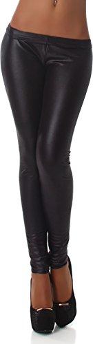 In pelle-effetto Jela London wet-Look Leggings lunga unità dimensioni. nero W38/40