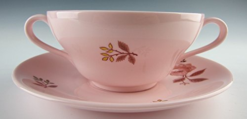 Wedgwood China ALPINE ROSE Cream Soup and Saucer Set(s) EXCELLENT - Soup Rose Cream Saucer