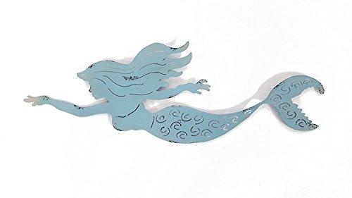 (Metal Blue Swimming Mermaid Wall Decor)