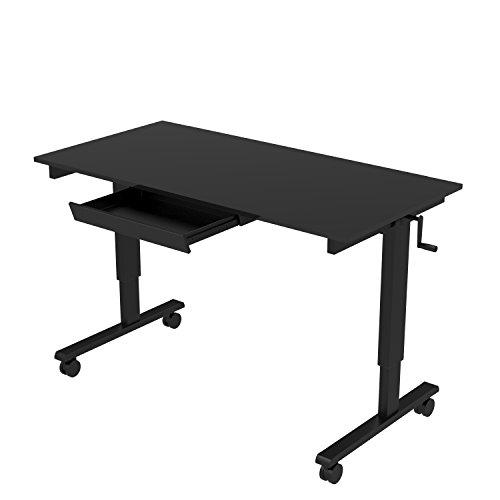60' Crank Adjustable Height Standing Desk (Black Frame / Black Gloss Top + Drawer)