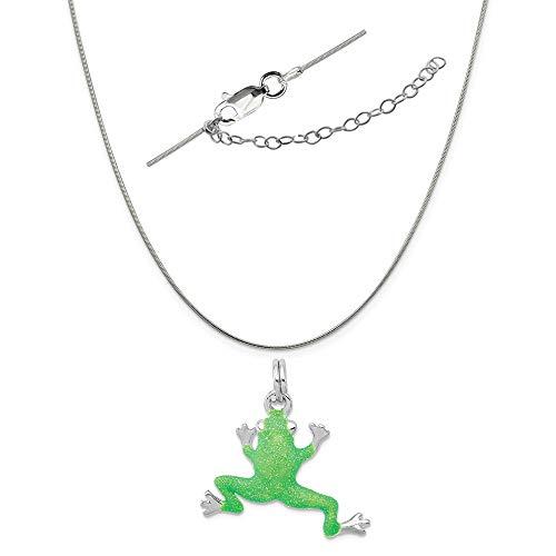 Green Enamel Frog Charm - Sterling Silver Anti-Tarnish Treated Green Enamel Frog Charm on a Snake Chain, 18