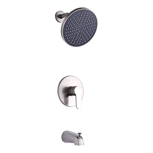 SUMERAIN Single Handle Bath Tub & Shower Faucet with Solid Brass Rough-in Valve,Tub Spout,8-Inch ABS Plastic Round Rain Shower Brushed Nickel