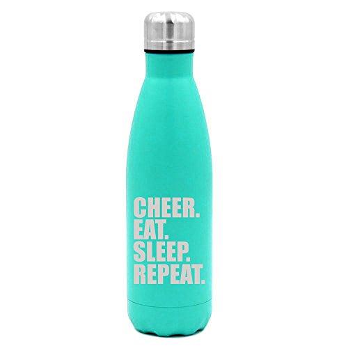 - 17 oz. Double Wall Vacuum Insulated Stainless Steel Water Bottle Travel Mug Cup Cheer Eat Sleep Repeat Cheerleader (Light-Blue)