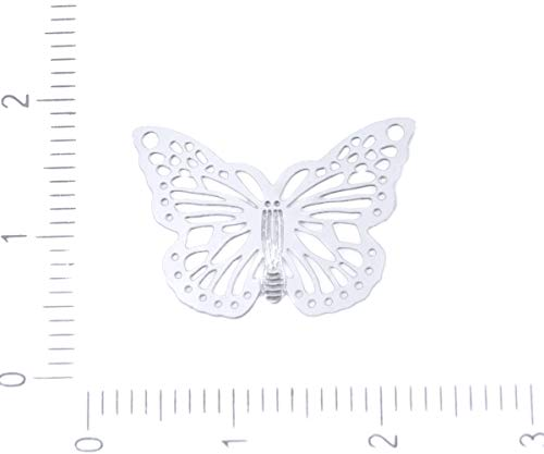 Butterfly Laser Charm - 4pcs Silver Hypoallergenic Stainless Steel Butterfly Filigree Laser Cut Flat Connector Pendant Charm Earrings Metal Finding 20mm x 14mm