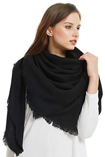 - VIVIAN & VINCENT Soft Classic Luxurious Blanket Solid Color Square Scarf Wrap Black
