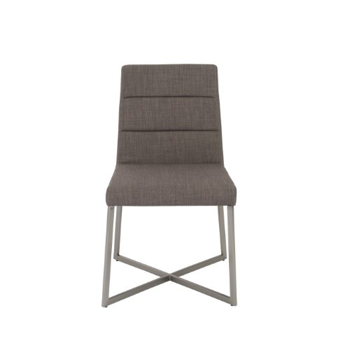 Euro Style Tosca Leatherette Side Dining Chair with Stainless Stele Base, Set of 2, Dark Gray ()