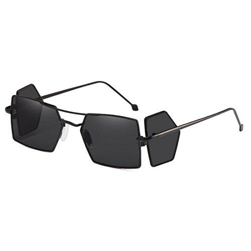 hommes d'objectif Gris Noir soleil rectangle lunettes Aiweijia soleil Vintage de verres quatre de pour femmes lunettes Retro xqanqZ4