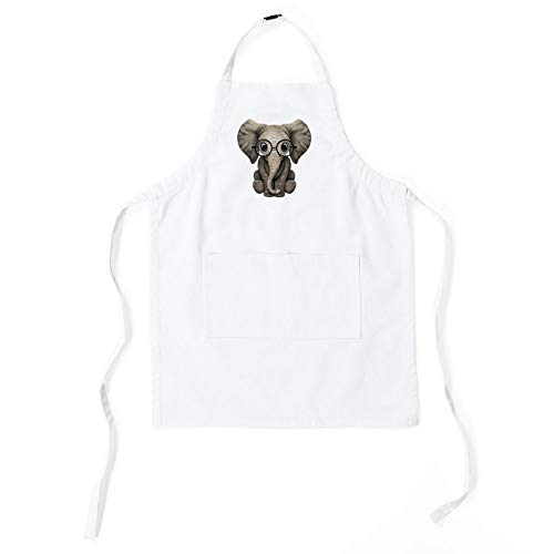 CafePress Cute Baby Elephant Calf with Reading Gl Kids Baking Apron ()