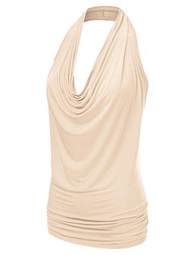 1094dcbe8e802e Doublju Womens Sleeveless Sexy Halter Drape Cowl Neck Top with ...