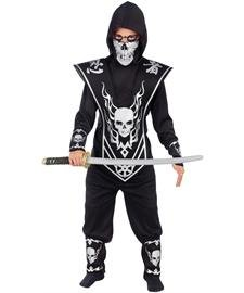 Skull Lord Ninja Child Costume, Multicoloured, Size Large (12-14) - Child Black Ninja Costumes