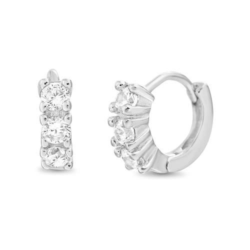 Mia Sarine 12mm Cubic Zirconia Small Hoop Huggie Earrings Women in Rhodium Plated 925 Sterling Silver