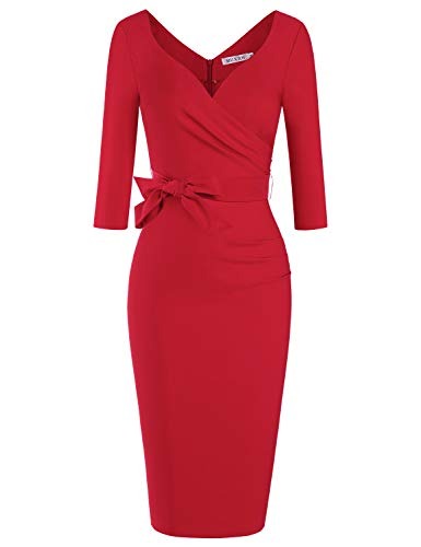 MUXXN Ladies Causal Halter Strap 3/4 Sleeve Cocktail Bridesmiad Wine Red Dress (Red L) (Ladies Dresses To Wear To A Wedding)