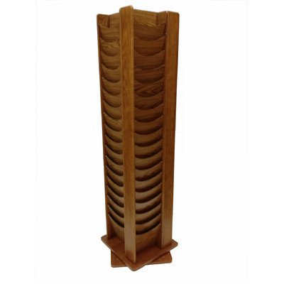 Buddy Products 72 Pocket Solid Oak Rotating Literature Rack, 16.75 x 67.5 x 16.75 Inches, Mahogany - Solid Oak Range