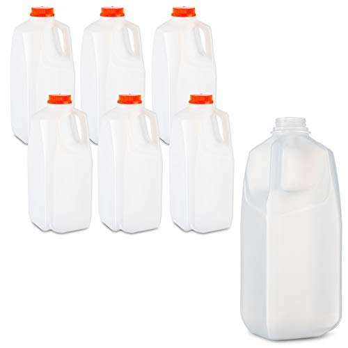 Empty HDPE Plastic Juice Set of 6 Bottles and 6 Caps Milk Bottles with Tamper Evident Caps by MT Products 64 Oz