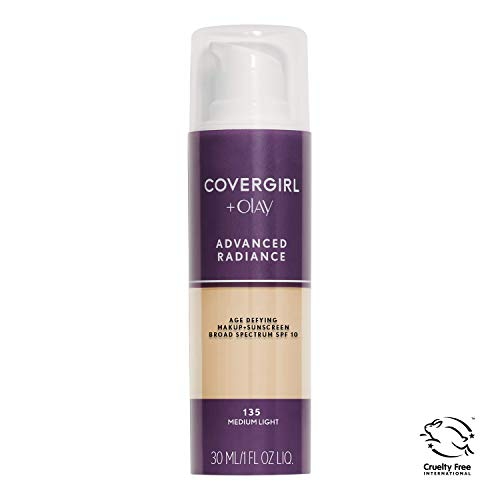 COVERGIRL Advanced Radiance Age Defying Foundation Makeup Medium Light, 1 oz (packaging may ()