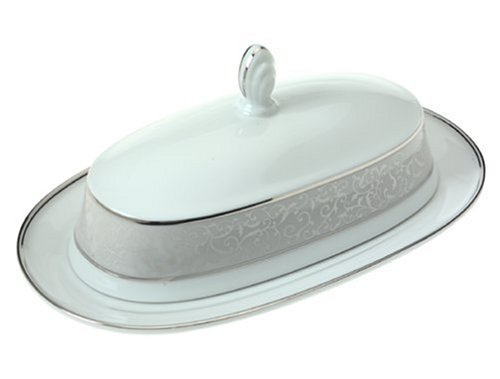Platinum Dish Covered - Mikasa Parchment Covered Butter Dish